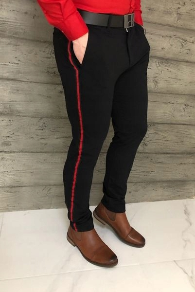 Czarne eleganckie męskie spodnie z lampasem 31