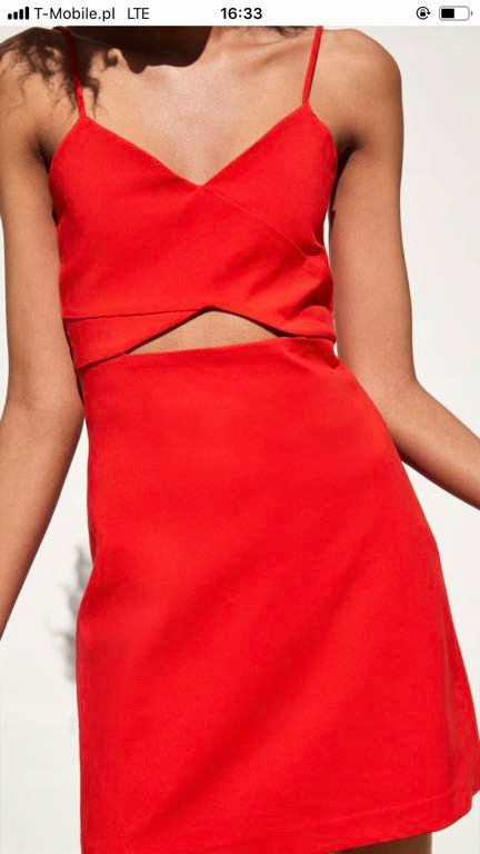 Zara sukienka czerwona trf 34 dekolt wycięcia 2019