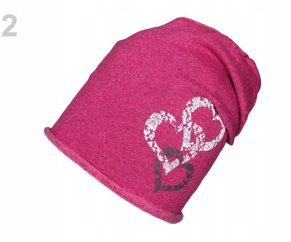 1szt 2 pink czapka bawełniana dziewczęca