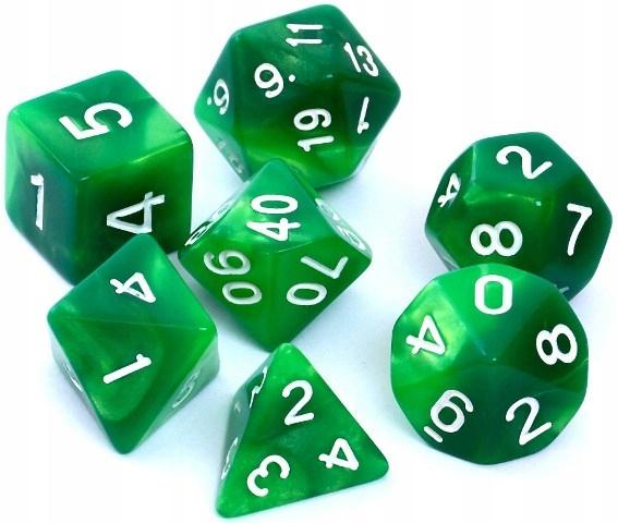 Kości RPG 7 szt. Dwukolorowe Zielono-żółte