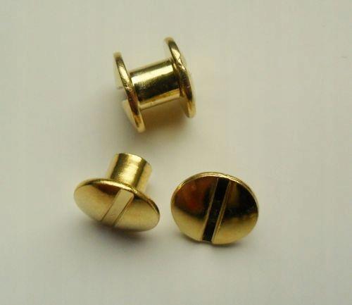 Śruba introligatorska metal złota, nit 5mm - 10szt