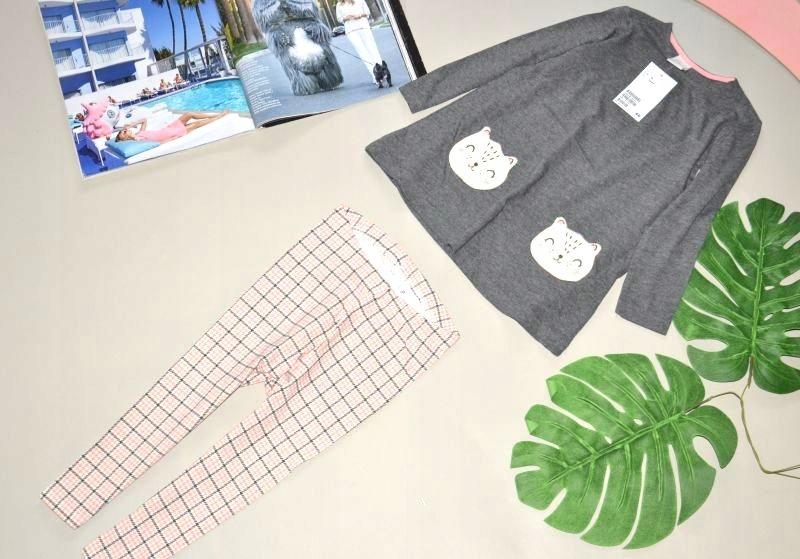 H&M szary dres KOT śliczny LEGGINSY NOWY 92 cm