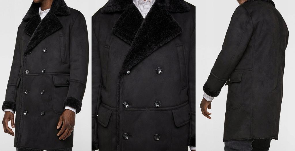 ZARA męski płaszcz kożuch czarny zimowy baranek L