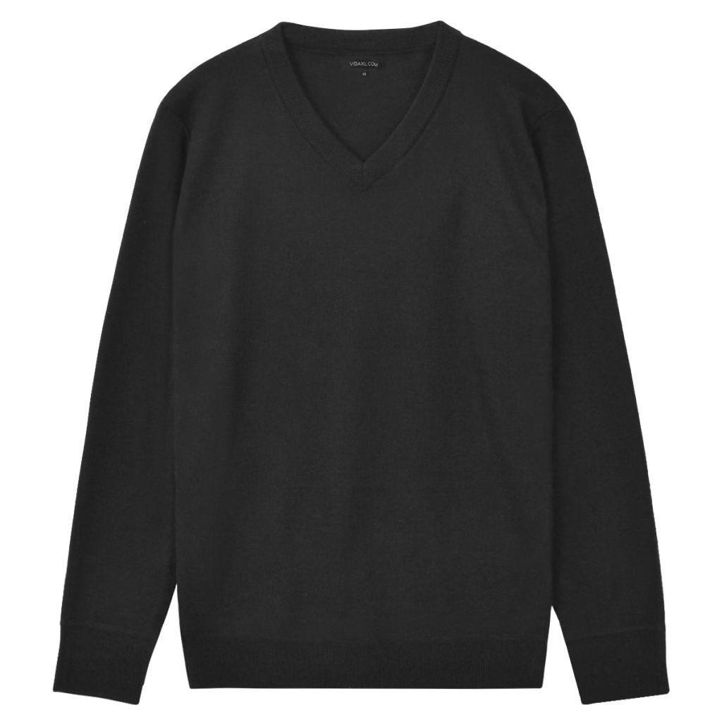 Sweter Męski w Serek, Czarny, Rozmiar L