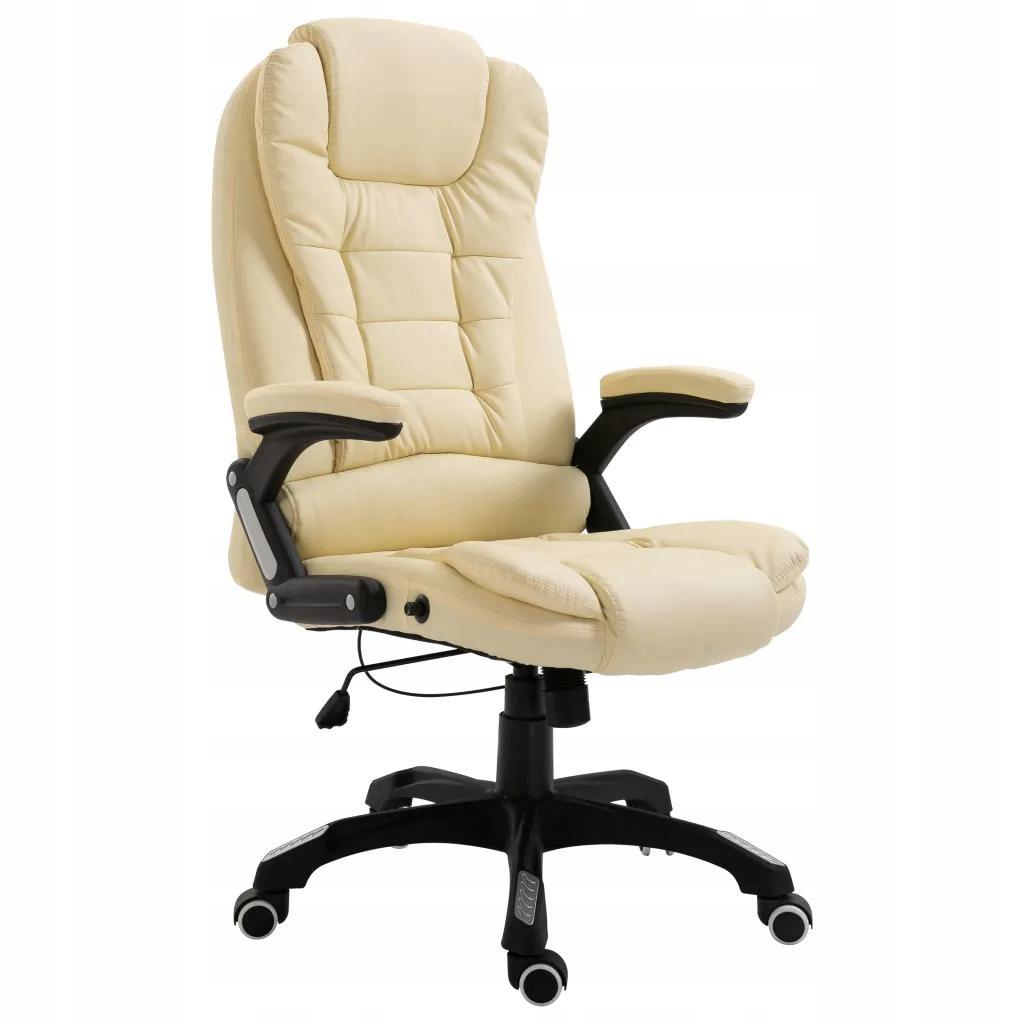 Fotel Krzesło Do Biurka Kremowe Sztuczna Skóra