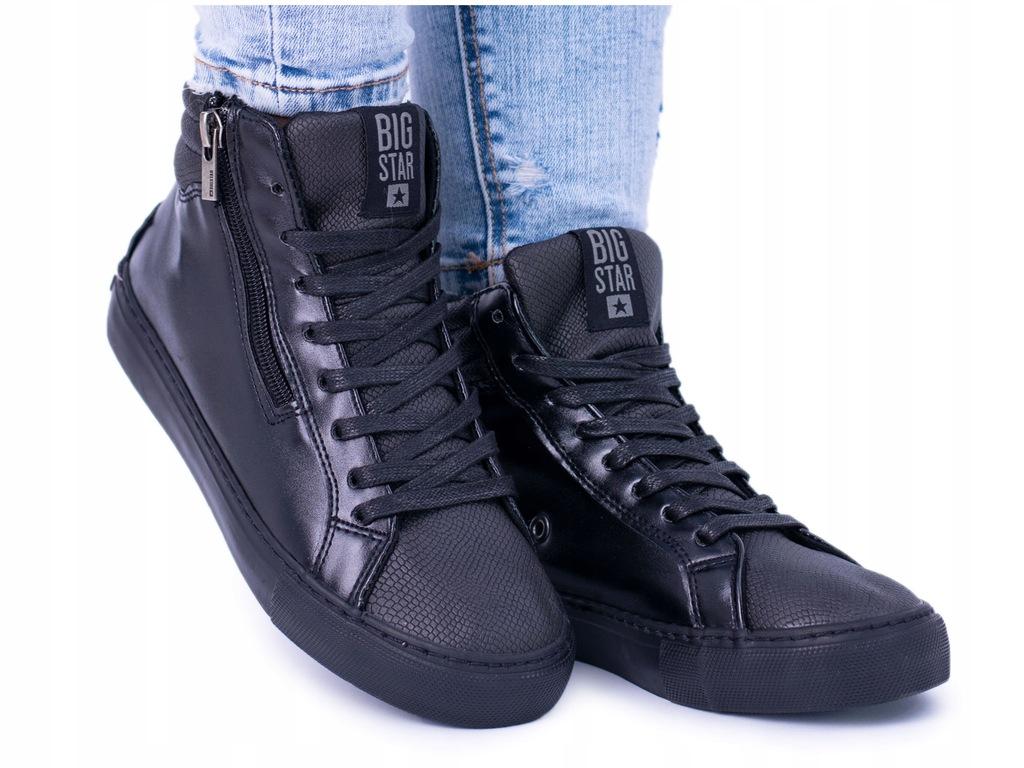 Big Star Damskie Wysokie Czarne Trampki Sneakersy BB274728