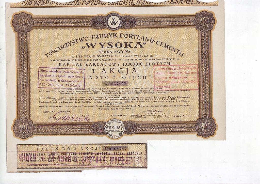 WYSOKA 100 zł 1929