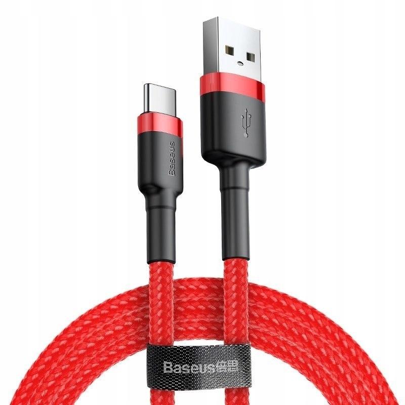 Kabel USB-C Baseus Cafule 3A 1m (czerwony) Baseus