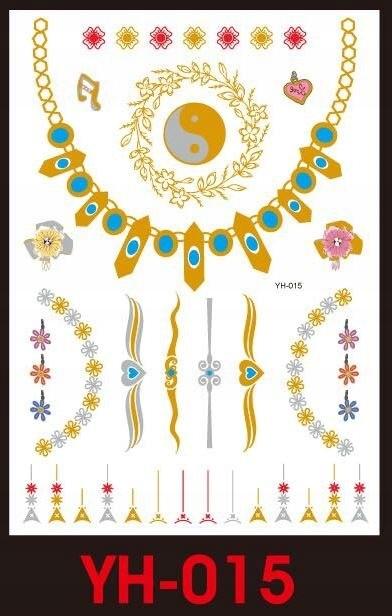 Tatuaże metalic złote srebrne FLASH TATTO YH-015