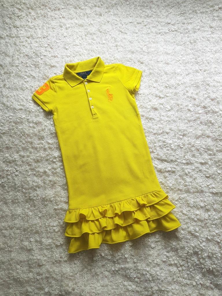 RALPH LAUREN POLO Neonowa Żółta Sukienka Falbanki