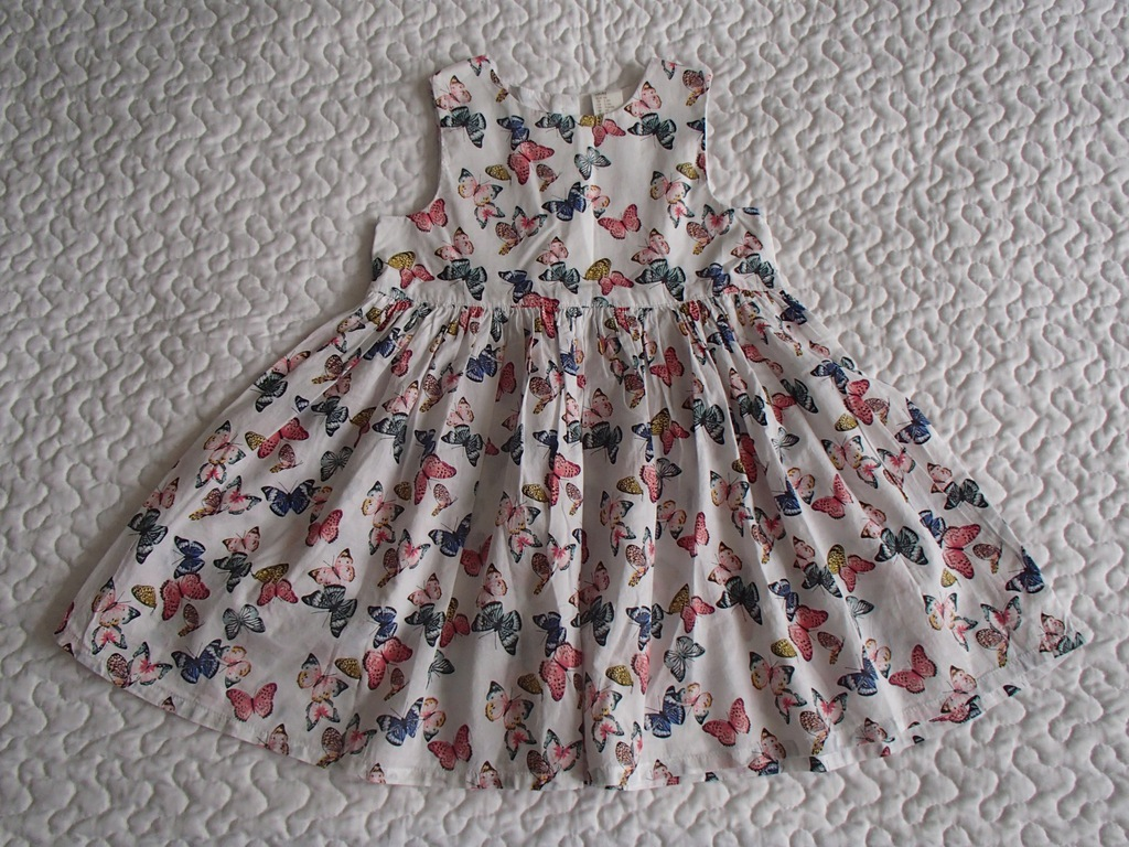 H&M sukienka biała w motylki nowa roz 98