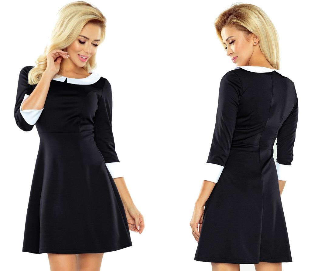 Modna NOWOCZESNA Sukienka RĘKAW 34 Czarna 162 1 L