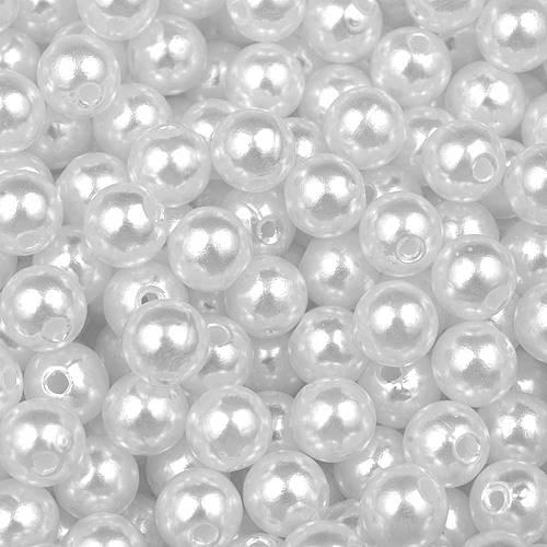 Perły Perełki Koraliki Plastikowe 8mm BIAŁE 50 szt