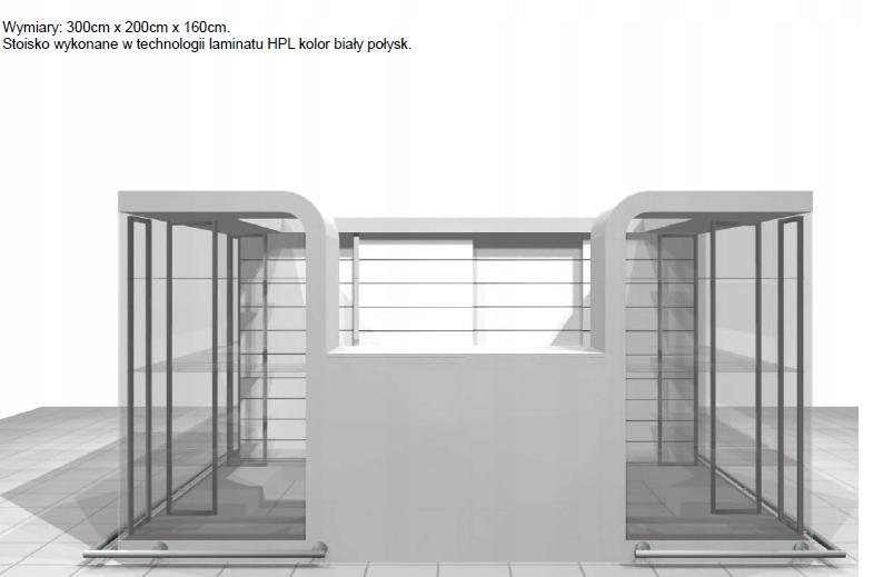 Wyspa Handlowa biała błysk lakier- 6m2 + lustra