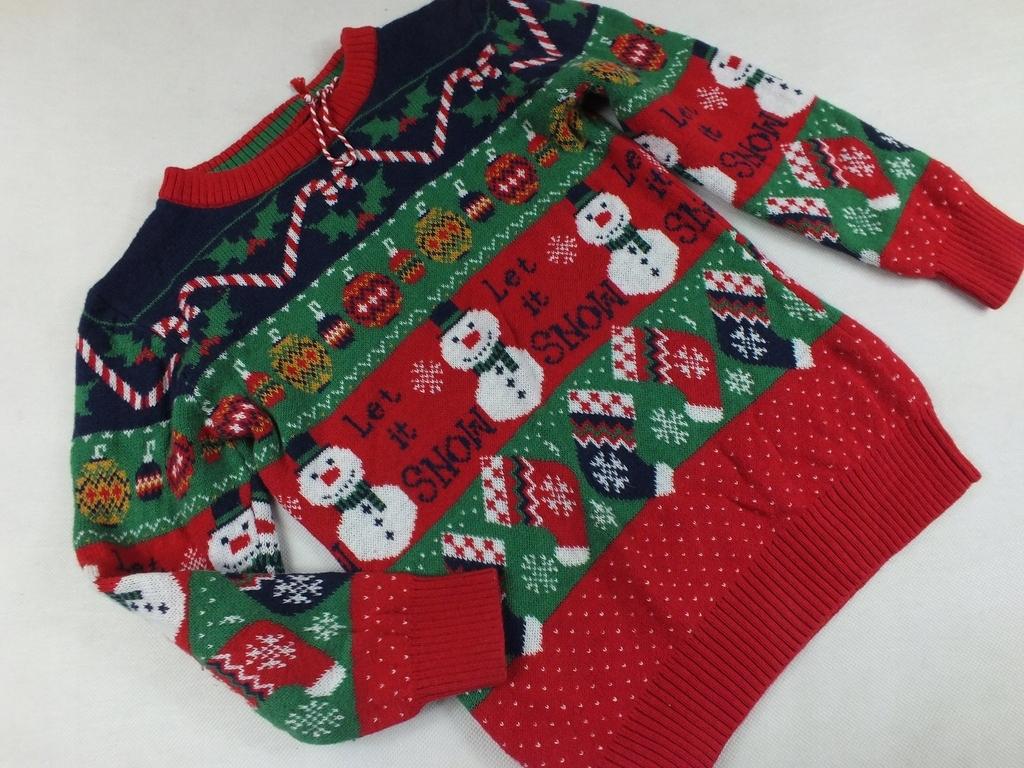 TU jak nowy świąteczny sweterek bałwanki 104-110