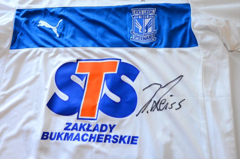 Koszulka Kolejorza z autografem Piotra Reissa