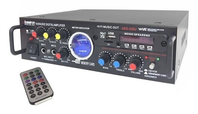 WZMACNIACZ DO KARAOKE 2X60W USB SD RADIO FM [F717