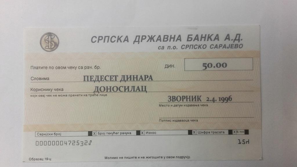 Czek 50 dinarów Serbia 1996 rok