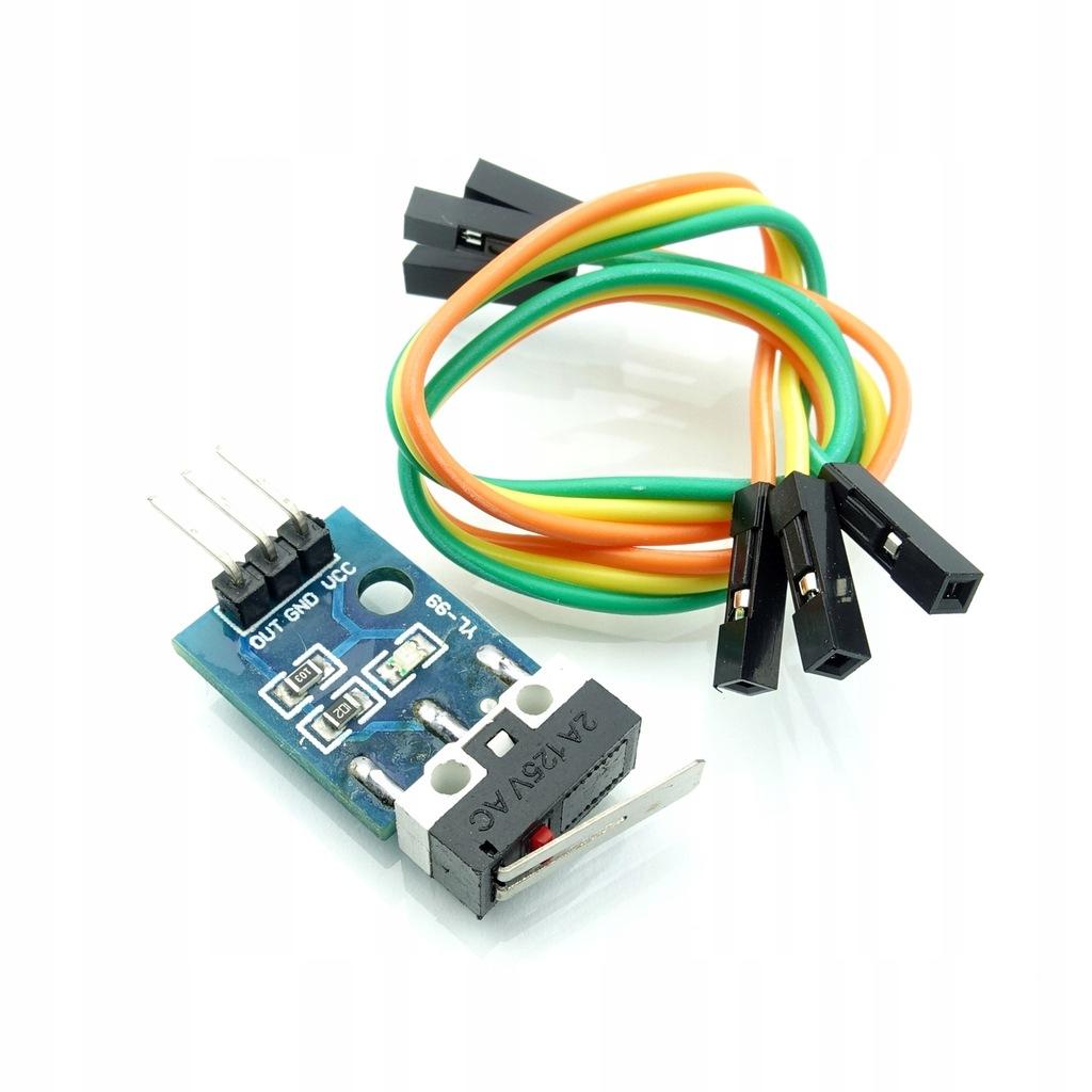Czujnik krańcowy mechaniczny na PCB z przewodami