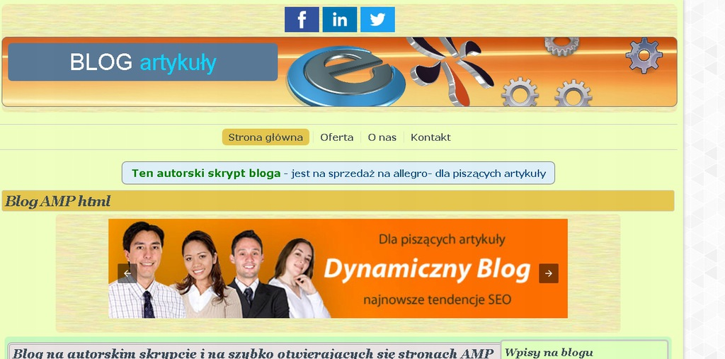 Skrypt strony firmowej plus blog firmowy AMP html