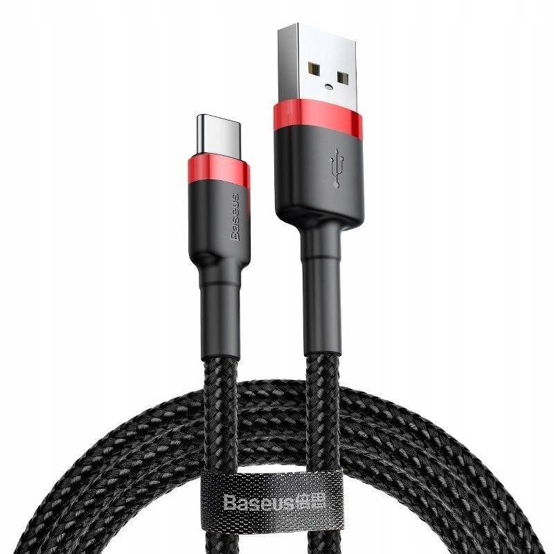 Kabel USB-C Baseus Cafule 3A 0.5m (czerwono-czarny
