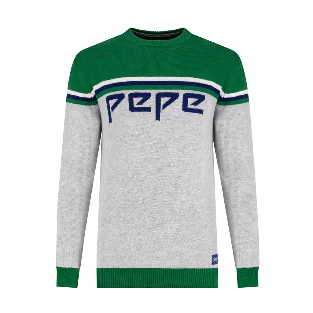 Sweter męski Pepe Jeans szary zielony c-neck L