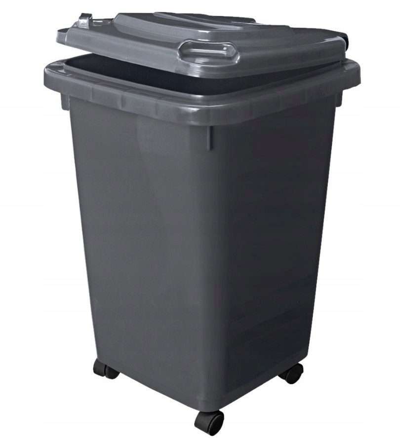 Kosz na smieci 60l segregacja odpady klapa kółka