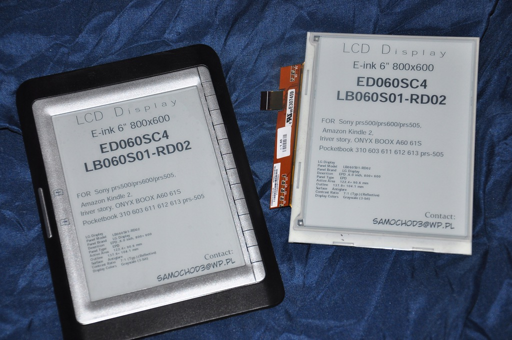 Ekran ebooka e-ink 6'' LCD ED060SC4 LB060S01-RD02