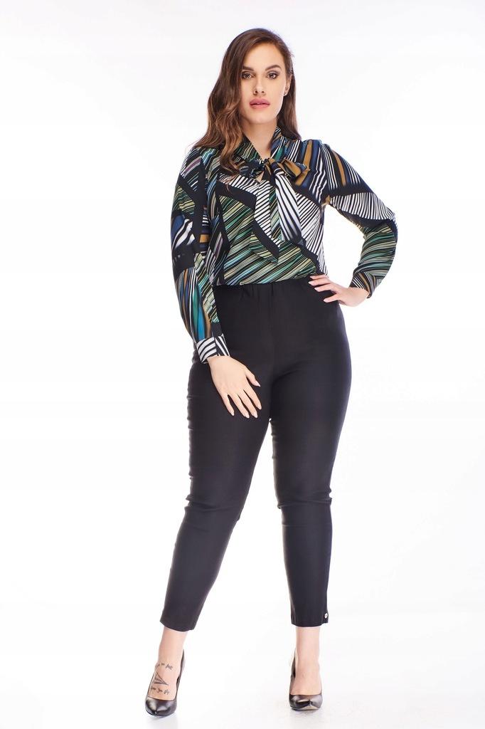 Bawełniane spodnie z wysokim stanem - Czarny 42