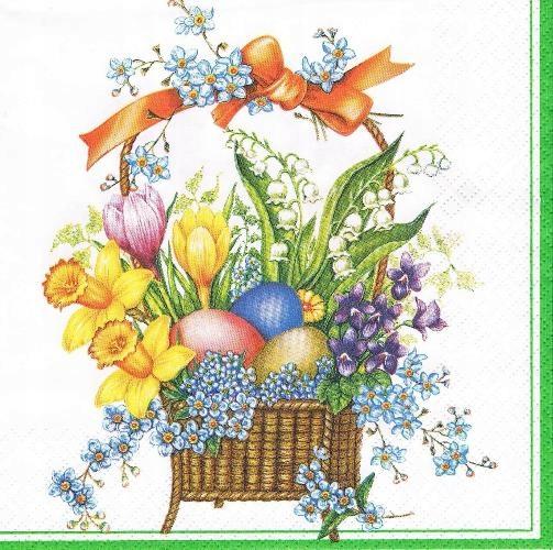 Serwetka decoupage 173W serwetki Wielkanoc koszyk