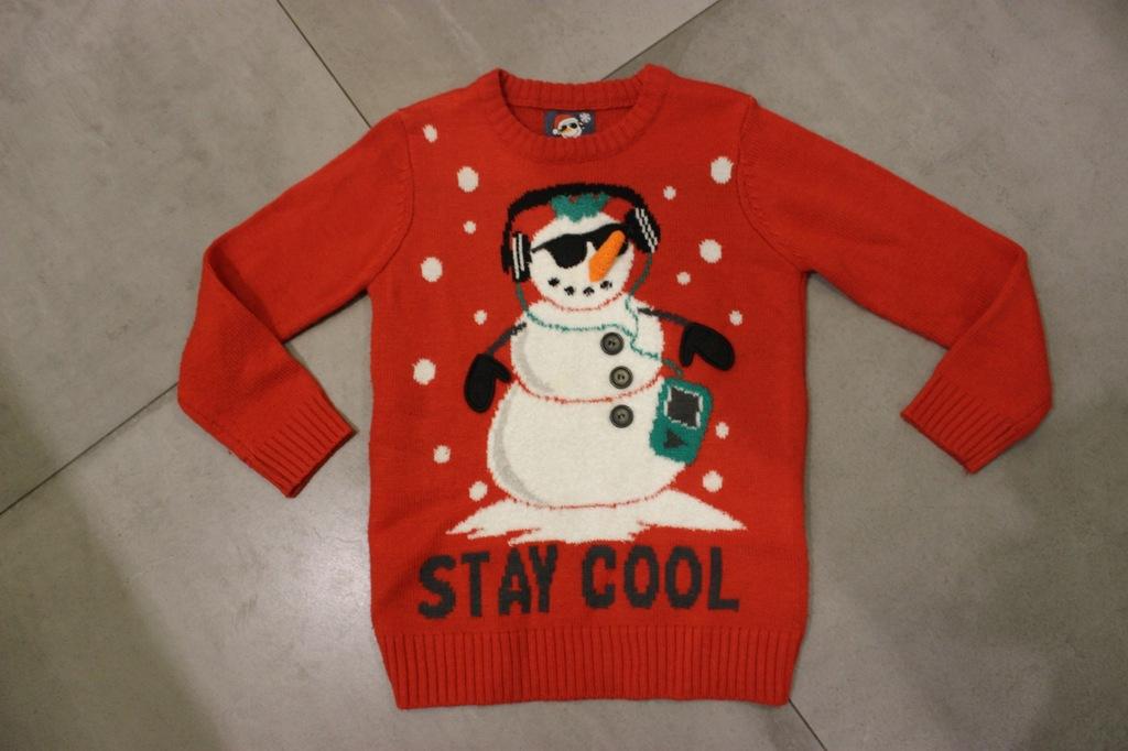 F&F sweterek świąteczny bałwanek 7 8LAT