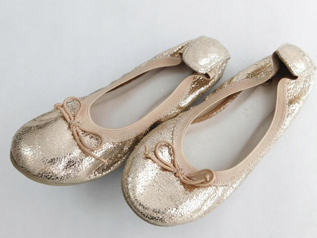 2204d140 NEXT buty DZIECIĘCE baleriny ZŁOTE 30/31