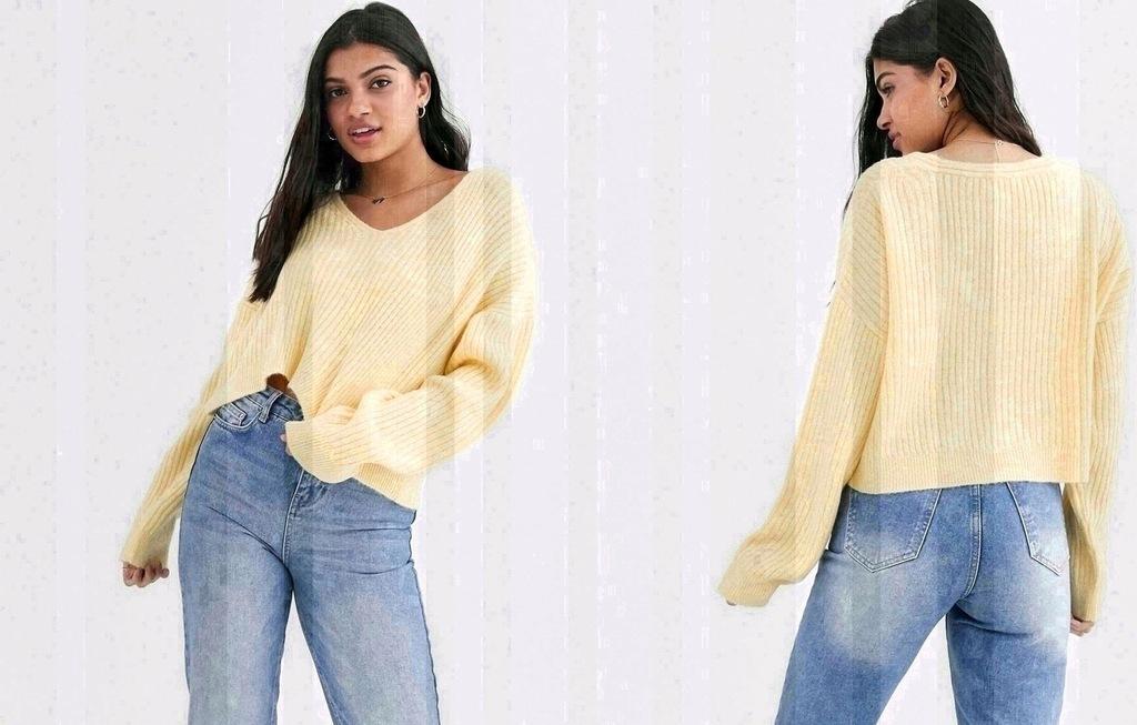 New Look Żółty Krótki Sweter Damski M