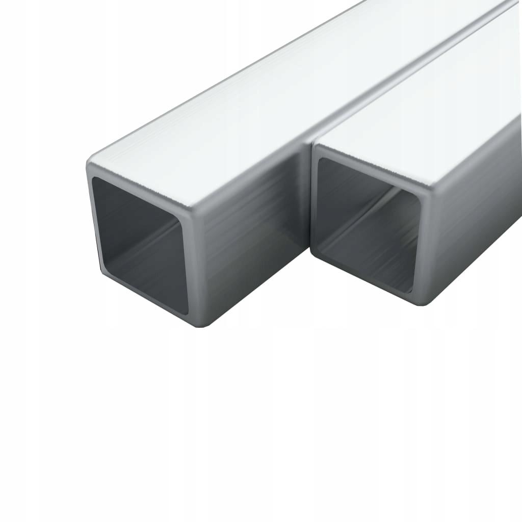 Rury ze stali, 2 szt., kwadratowe, V2A, 1 m,