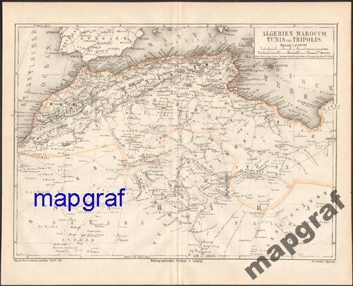 MAROKO, TUNIS, ALGIERIA stara mapa z 1874 roku
