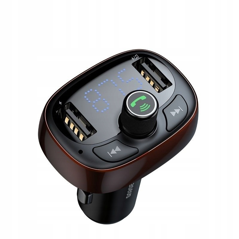 Baseus Transmiter FM z Bluetooth USB microSD (brąz