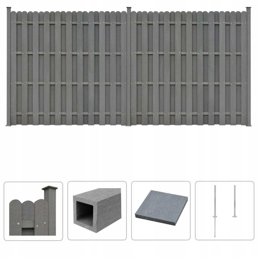 Ogrodzenie z WPC, 2 panele kwadratowe, 376 x 185