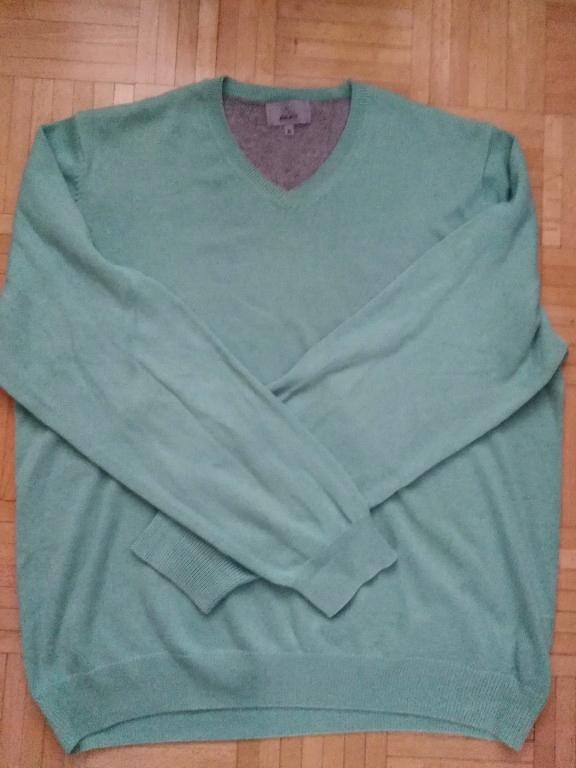 Marks and Spencer miętowy sweter męski bawełna BDB