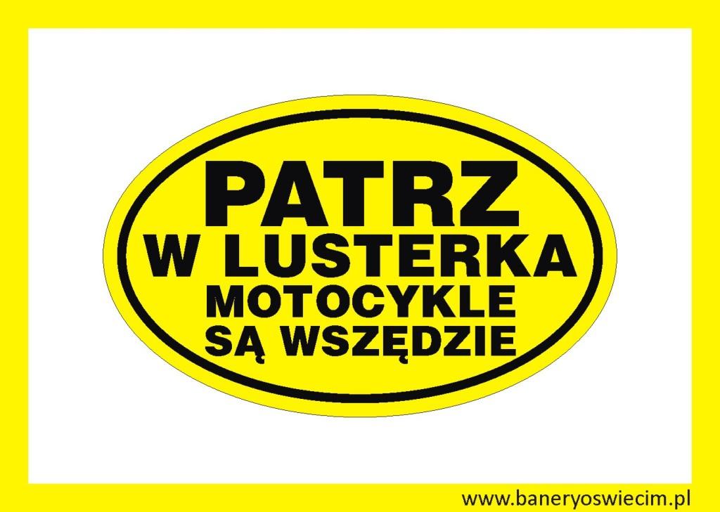 naklejka  na samochód PATRZ W LUSTERKA napis