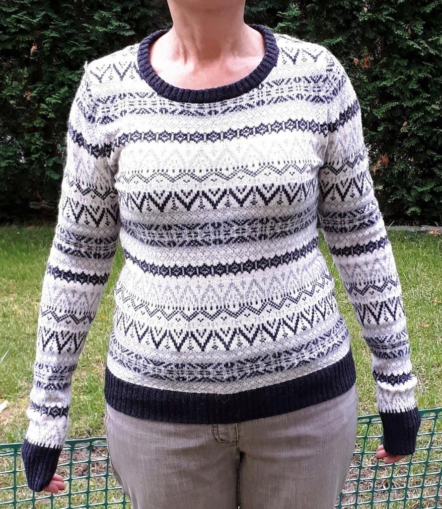 Ciepły Sweter S 36 / M 38 H&M szary wzory