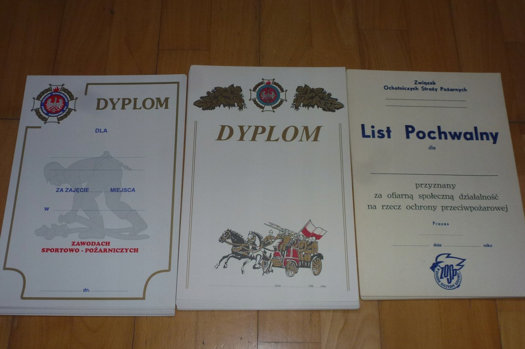 Dyplomy straż pożarna PRL 41 sztuk