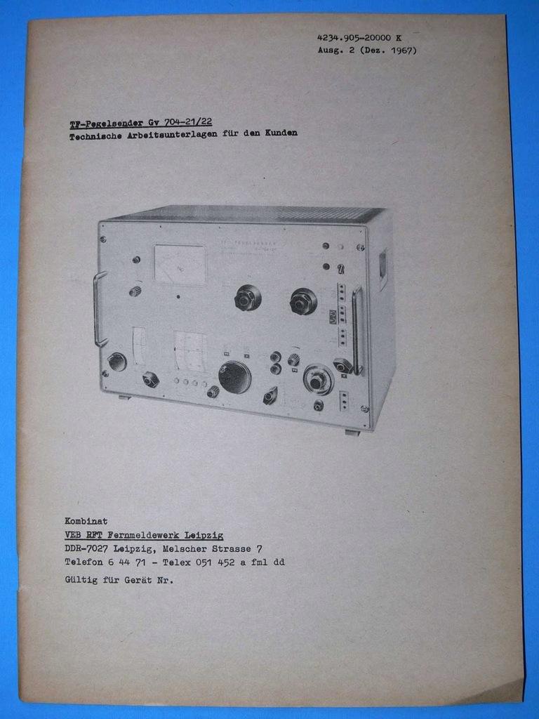INSTRUKCJA GENERATOR GV 704-21/22 DDR