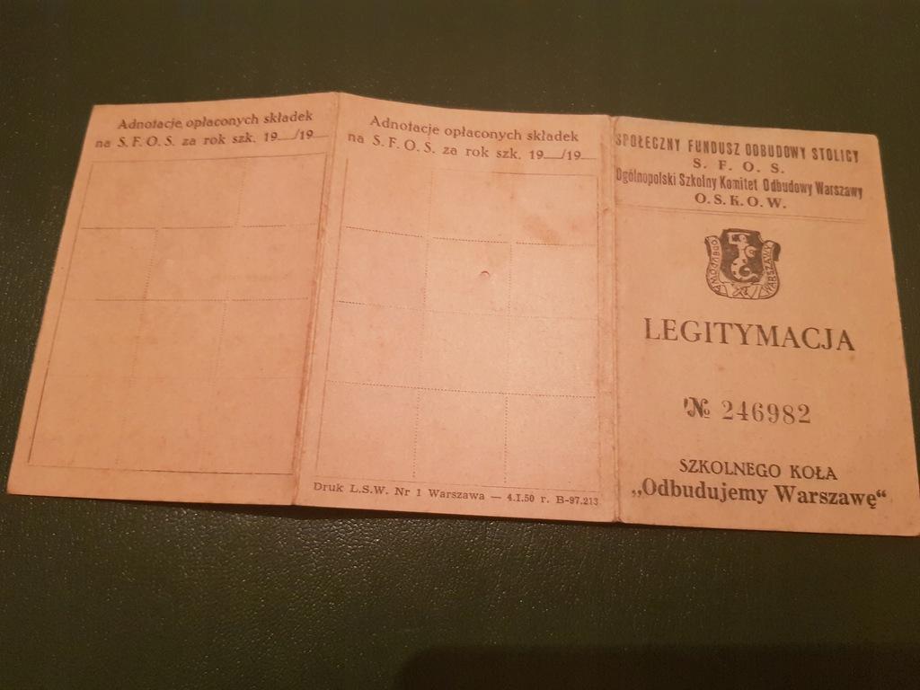 Szkolne Koło Odbudowy Warszaw Legitymacja 1950
