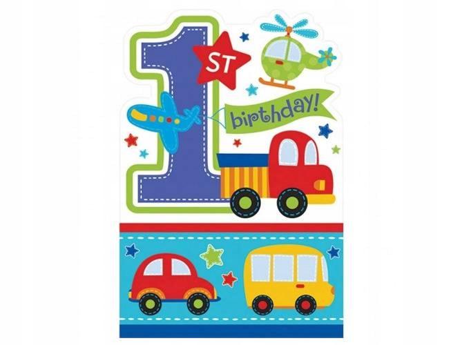 Zaproszenia na roczek Samochodziki 8 szt. Urodziny