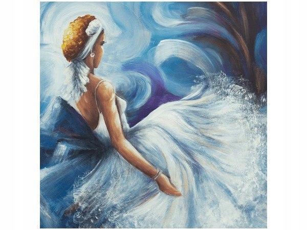 40x40cm Błękitna dama obraz druk ozdoba ścian podo