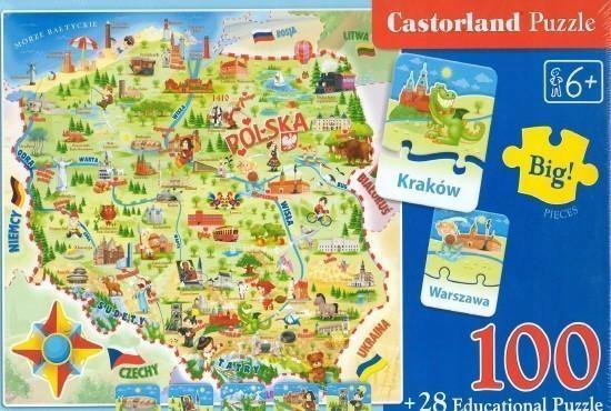 PUZZLE 100+28 MAPA POLSKI CASTOR, CASTORLAND