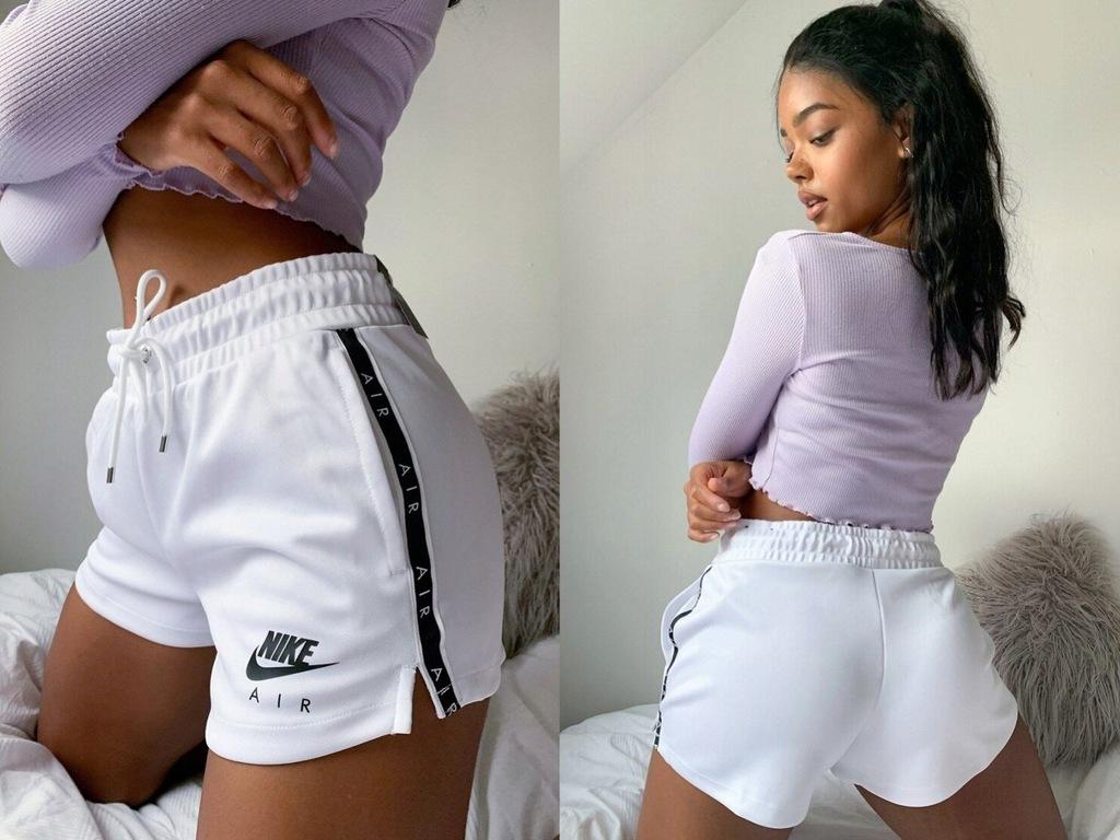 Nike air Białe szorty z taśmą z logo, S/36