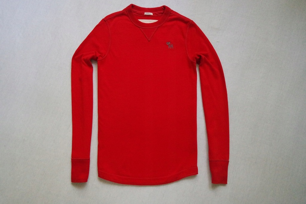ABERCROMBIE FITCH koszulka czerwona logowana__XS/S