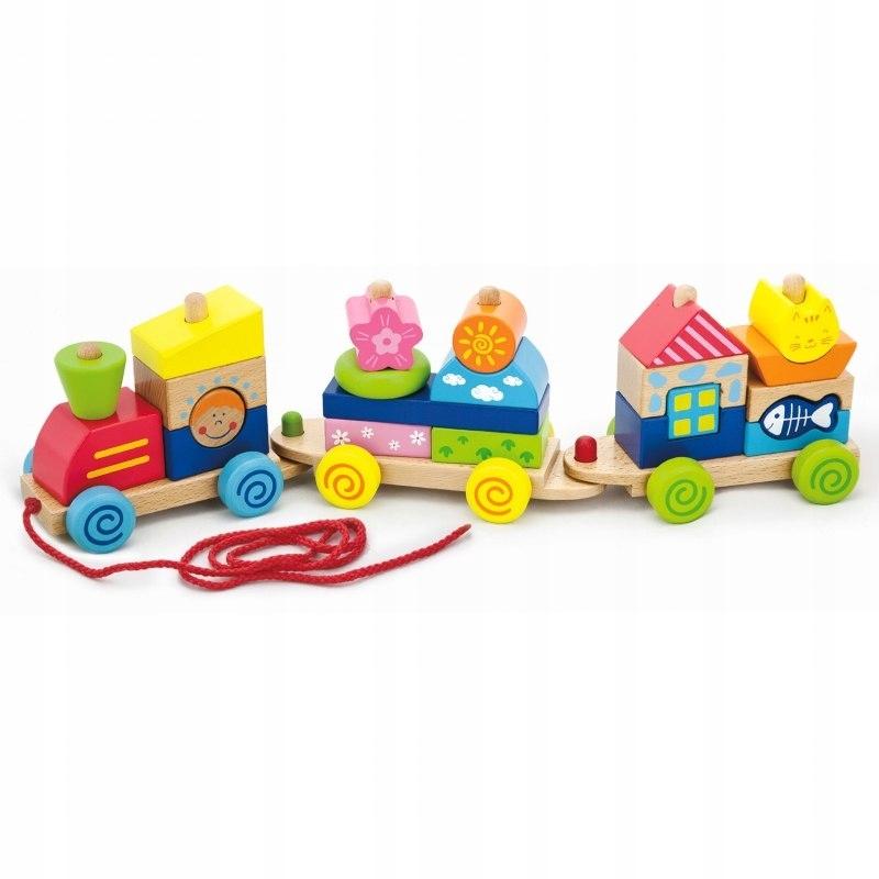 Kolorowa Kolejka z wagonikami do ciągania Viga Toy