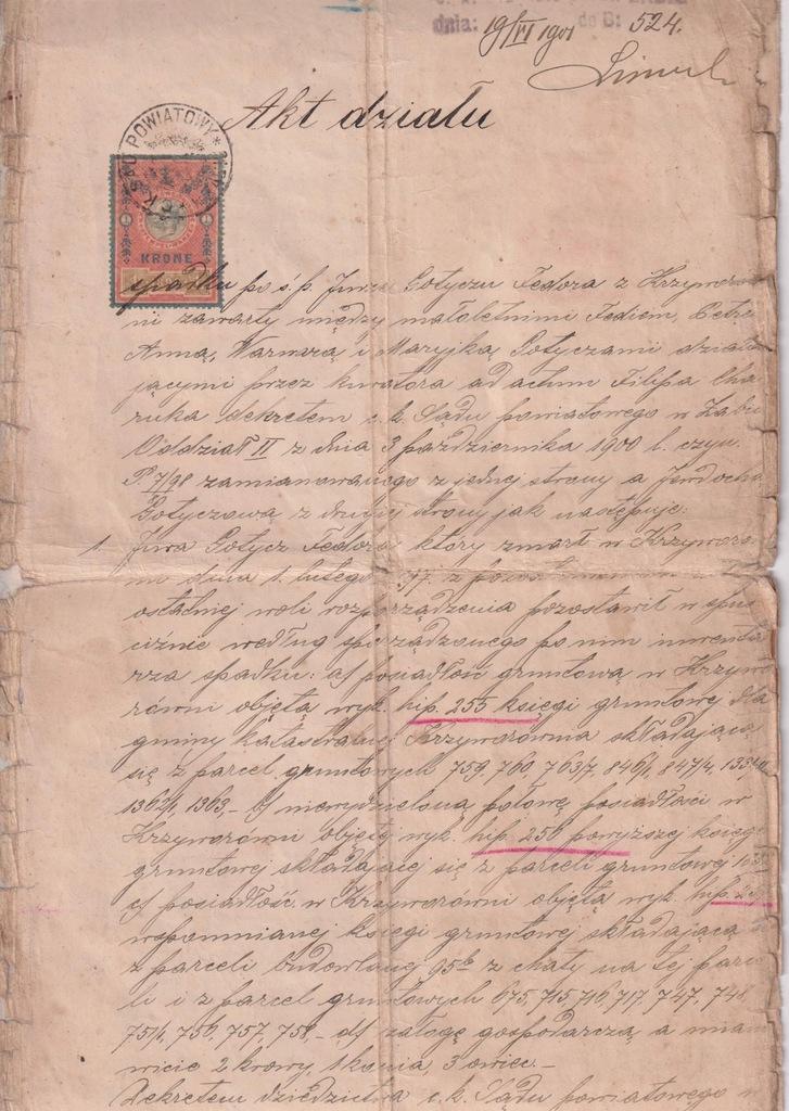 AKT PODZIAŁU MAJĄTKU ŻABIE 1901